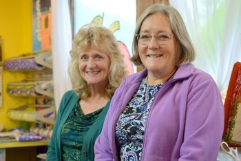 Store owner Kathleen Rowell (right) is pictured with employee Liz Cornella at the Incredible Toy Company.