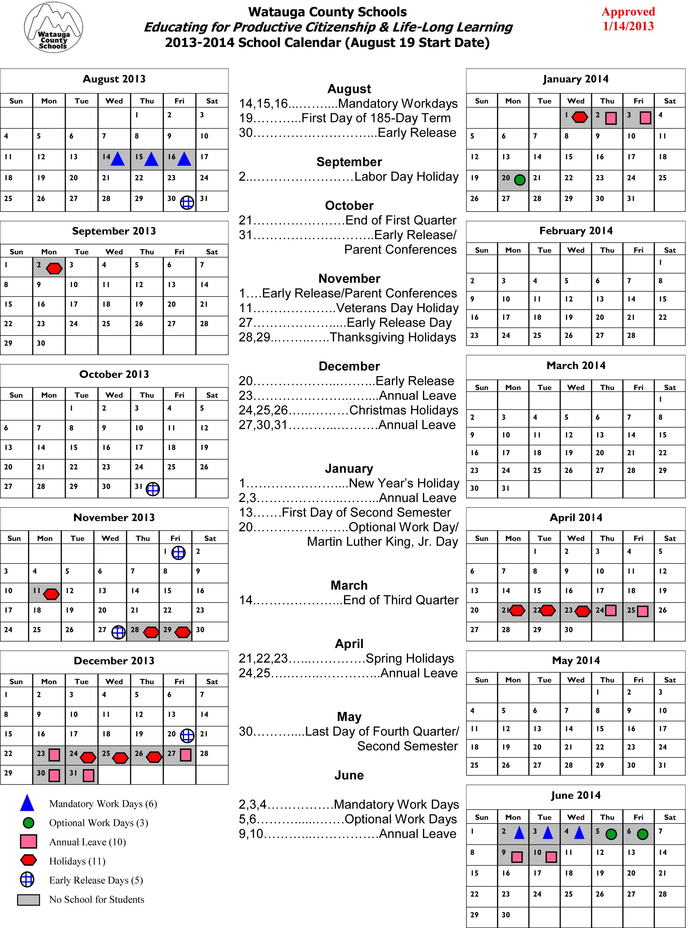 Watauga School Board Approves 2013-14 Calendar, First