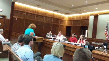 Watauga County GOP Chair Anne-Marie Yates opposed an early-voting site at Plemmons Student Union at Tuesday's meeting.