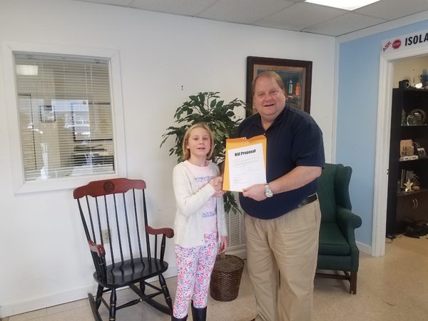 Josie Franca a fourth-grade student in Ms. Monica Parson's class at Westwood Elementary in Ashe County, met with NC House Representative Jonathan Jordan last week.