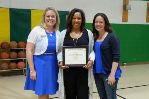 A trio of excellence: Keana Triplett, NC Teacher of the Year, 2016-17 WCS Teacher of the Year Martha Trimble, and 2015-16 WCS Teacher of the Year Allison Sparks