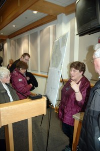 Elections Director Jane Ann Hodges talks with the public.