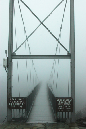 A foggy morning on the swinging bridge. Photo courtesy of the Grandfather Mountain Stewardship Foundatoin