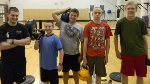 Wellness Coach Martin Hubner with students Will Soule, Elijah Presnell, Isaac Maling and Max Maling. Photo submitted.