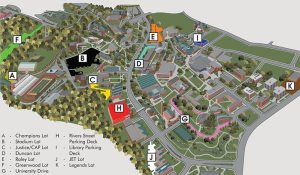 Parking and tailgating map for Appalachian State football home games.