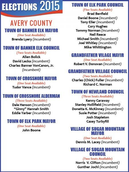 AVERY county 2015 elections