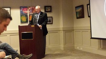 Mayor J.B. Lawrence introduced Town Manager Scott Fogleman on Monday. It is an election year.