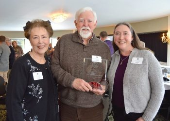 Jewel, Bill and Caroline Magee show off the Blowing Rock Chamber's Lifetime Achievement Award on Feb. 9 at Meadowbrook.