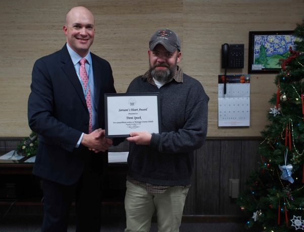 Trent Ipock was the recipient of December's Servant's Heart Award. Ipock, a U.S. Army veteran, splits his time between the central office and school nutrition at Hardin Park. Superintendent Scott Elliott lauded Ipock for his work ethic, dedication and commitment to Watauga County Schools.