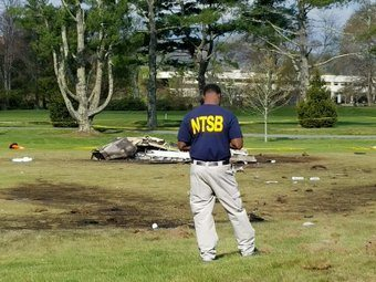 National Transportation Safety Board official conducting the investigation of the crash at the Boone Golf Course earlier this week.