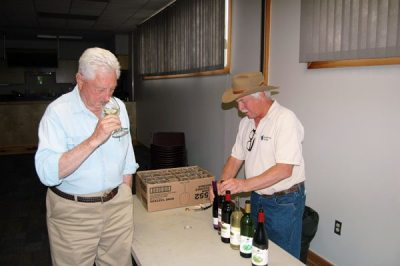 Two legends in the local wine industry: Jack Wiseman of Linville Falls Winery (left) and Steve Tatum of Grandfather Vineyard and Winery.