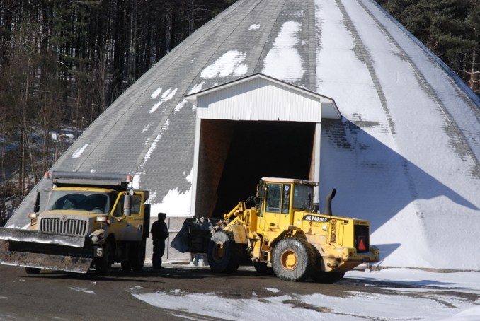 NCDOT workers prepping for snow removal of secondary roads on Wednesday. Photo by Ken Ketchie