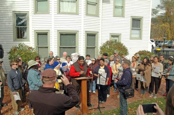 Several dozen folks listened to Rev. William Barber speak in Boone on Wednesday. Photo by Jesse Wood