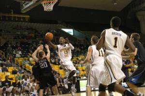 Jamaal Trice scored 12 points for the Mountaineers in their 78-70 win over Presbyterian. Photo by Dave Mayo and courtesy of Appalachian Sports Information