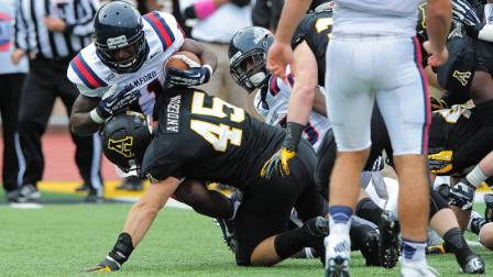 Karl Anderson had seven tackles, including one-and-a-half behind the line of scrimmage, against Samford on Saturday. Photo courtesy of App State Athletics/Keith Cline