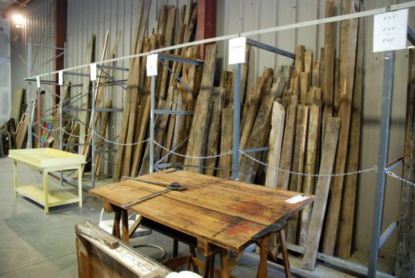 Reclaimed barn wood is pictured in Curiosity's new salvage/reclaim work shop
