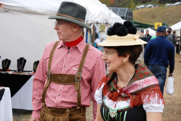 Many visitors came dressed in their best Bavarian outfits
