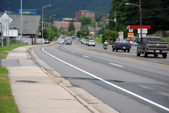 Bike lanes were recently added to U.S. 321 in between Hardee's and the N.C. 105 intersection. Photo by Ken Ketchie