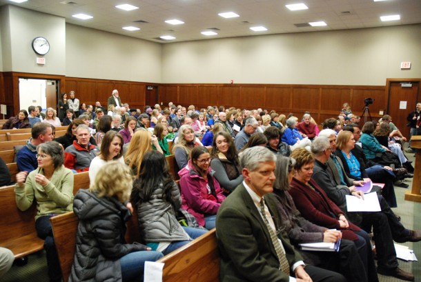 The courthouse was packed on Thursday night.
