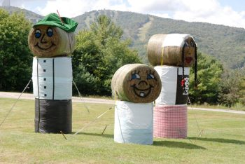 Made from hay bails, these fun fall friends greet you at Sugar Mountain Resort. Pictured are Hermann, Heidi and Baby Wolfgang! Photo by Ken Ketchie.