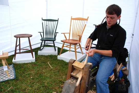 A vendor displays his talents