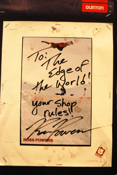 Edge of the World has many autographs in the shop including this one from Ross Powers, who won the Olympics the year after this photo was signed.