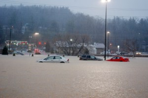 The Jan. 30 flood was one of the worst in recent history in Watauga. This is the Boone Shopping Mall.  Photo by Ken Ketchie