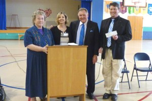 Rufus Edmisten with Patricia Sperry (far left),  Pam Shirley, and Mark Hagaman