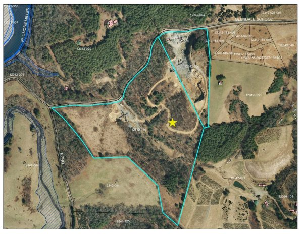 Ashe Planning Director Adam Stumb created this graphic depicting the location of the proposed plant. Stumb said he was going to present this to the Ashe County Planning Board tonight.