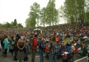 The audience at the Hillside Stage just before The Waybacks covered a Bob Dylan live album. Photo by Jesse Wood