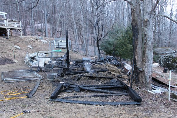 The remnants of a structure fire on Spice Lane in Banner Elk (Watauga County).