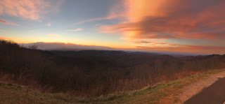 Looking over the fire from the Blue Ridge Parkway 7:00 AM 11/22/16