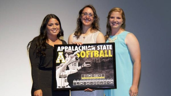 App State softball's Pepper Butler (middle) took home the Mountaineer Courage Award as well as the Softball MVP Award during Monday's APPSPY Awards Ceremony. Courtesy: Will Phillips (Appalachian State Football Video)