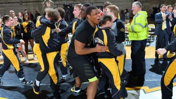 Appalachian State University wrestling captured its second-straight Southern Conference regular season championship on Wednesday night, defeating VMI and finishing the year 7-0 in league play. Photo by Tim Cowie / App State Athletics