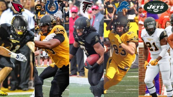 Bobo Beathard (Arizona Cardinals), Davante Harris (Indianapolis Colts), Malachi Jones (Atlanta Falcons), Simms McElfresh (Detroit Lions) and Doug Middleton (New York Jets) have joined NFL rosters as undrafted free agents. Courtesy: Appalachian State Athletics