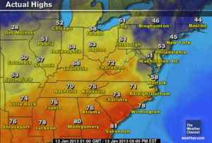 Weather maps showed record highs for much of the Southeast on Saturday and Sunday. Map courtesy of The Weather Channel