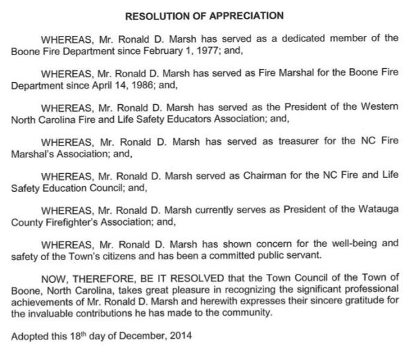 Resolution honoring Marsh by the Boone Town Council