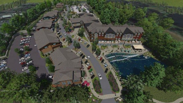 An aerial rendering of the Mountainleaf development that is still in the permitting phase.