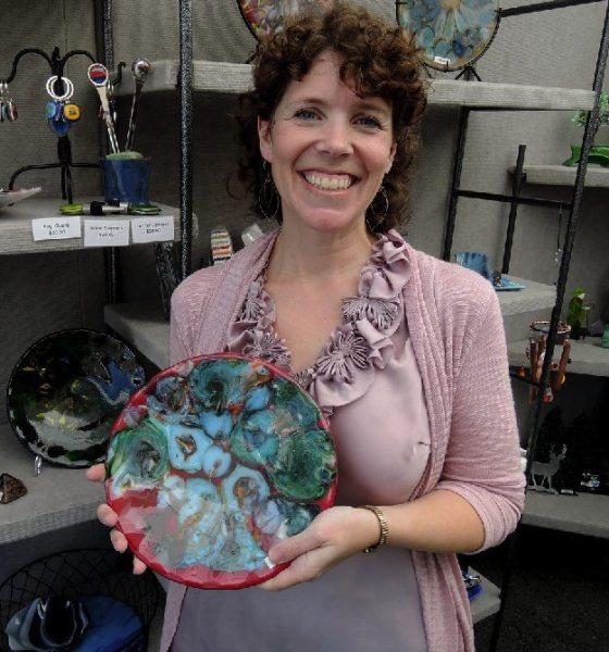 Kim Tufts of Kimberly Allynne Designs was but one of many vendors representing the best regional fine arts and master crafts shown on September 3 at the Banner Elk Art on the Greene event.