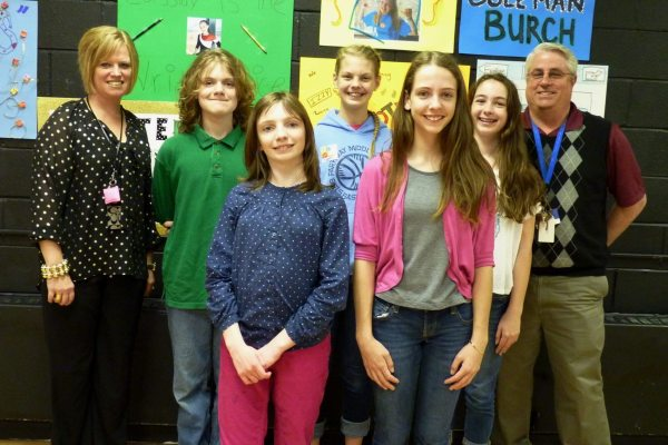 Heather Martin, Thad Evans, Rebekah Farthing, Magali Turner, Katie Hanna, and Stephen Schmal.  These five students were the 7th grade candidates for Student Council, and, as noted in the article, Martin and Schmal are faculty advisors for the Council.