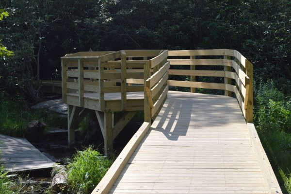 The new boardwalk that spans a boggy section of the Price Lake Loop that was completed last year with funding from the Blue Ridge Parkway Foundation.