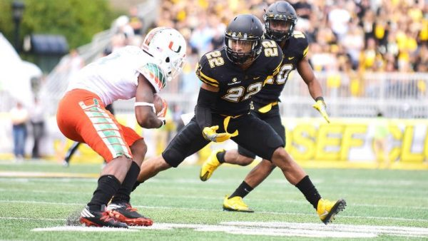 Clifton Duck looks to make the tackle on Saturday versus Miami. Courtesy: App State Athletics
