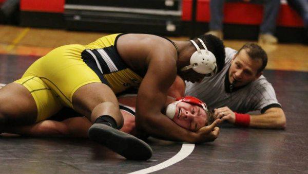 No. 8 heavyweight Denzel Dejournette defeated No. 25 Jake McKiernan to help Appalachian State University wrestling defeat SIUE, 39-4, on Sunday night. Courtesy: Patrick Clark/Athlete's Eye