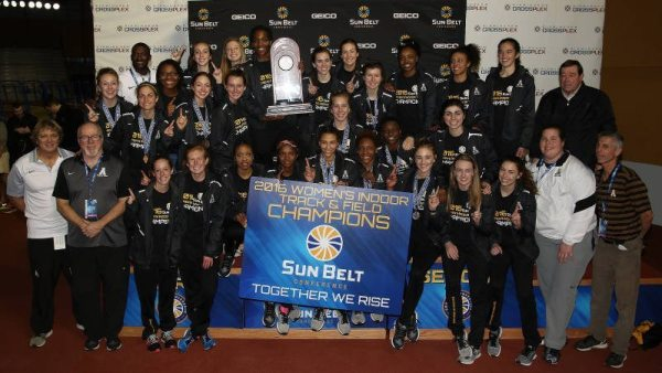 The Mountaineers scored 11 points in the final field event, the triple jump, to move in front of the field and take the title. Courtesy: Sun Belt Conference