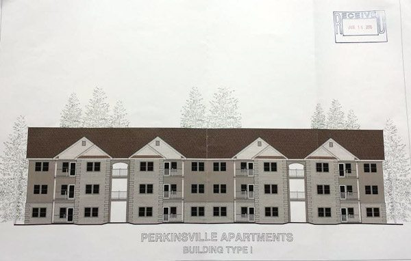 Artist Rendering of Skyline Terrace Apartments from June 23 Community Appearance Commission
