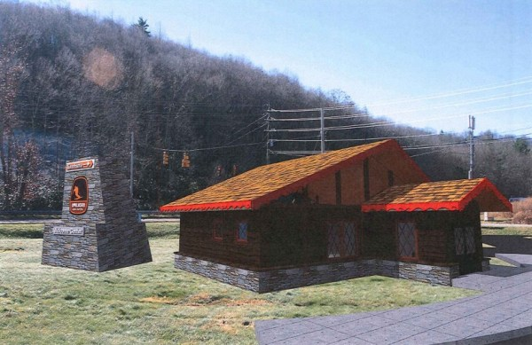 A artistic rendering of the proposed welcome center and freestanding sign at the corner of Edmisten Road and U.S. 321. Note that this rendering was created before the proposed increase to building.