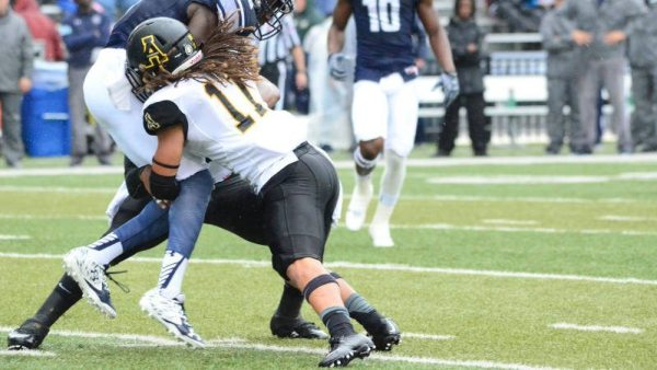 Devan Stringer had two tackles and a 77-yard fumble return for a touchdown during the Mountaineers' dominant 49-0 win at Old Dominion. Courtesy: Allyson Lamb / App State Athletics