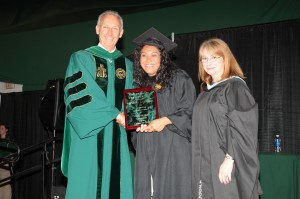 (left to right) President Buxton, Sandra Aguirre, and Ms. Kate Gavenus