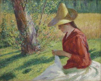 """John L. Breck (American, 1860 - 1899). """"Suzanne Hoschedé-Monet Sewing"""", 1888, oil on canvas. Gift of the Mint Museum Auxiliary."""