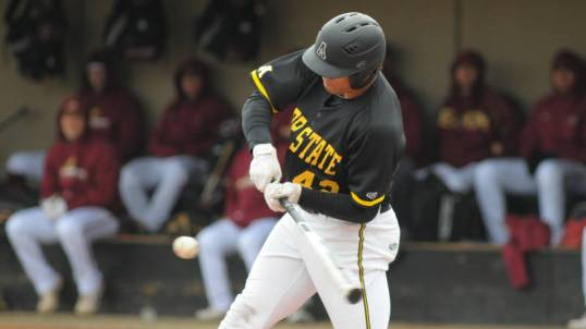 Dillon Dobson had an RBI double and RBI triple in Saturday's 7-6 loss at No. 25 Arkansas. Photo courtesy Appalachian State Sports/Dave Mayo